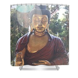 The Mystical Golden Buddha Shower Curtain by Amy Gallagher