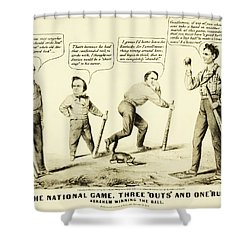 The National Game - Abraham Lincoln Plays Baseball Shower Curtain by Bill Cannon