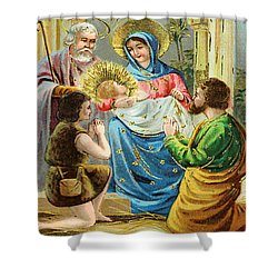 The Nativity Shower Curtain by Bill Cannon