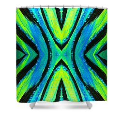 The Neon Zebra Shower Curtain by Drew Goehring