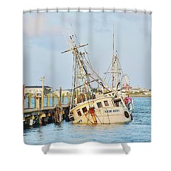 The New Hope Sunken Ship - Ocean City Maryland Shower Curtain