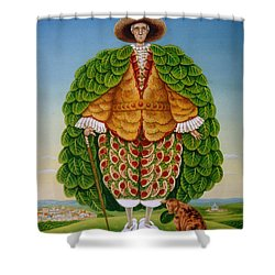 The New Vestments Ivor Cutler As Character In Edward Lear Poem, 1994 Oils And Tempera On Panel Shower Curtain by Frances Broomfield
