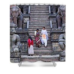 The Nyatapola Temple At Bhaktapur In Nepal Shower Curtain by Robert Preston