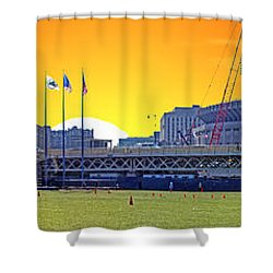 The Old And New Yankee Stadiums Side By Side At Sunset Shower Curtain by Nishanth Gopinathan