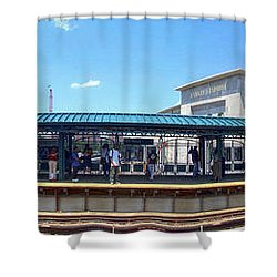 The Old And New Yankee Stadiums Panorama Shower Curtain by Nishanth Gopinathan
