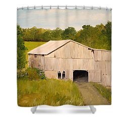Shower Curtain featuring the painting The Old Barn by Alan Lakin