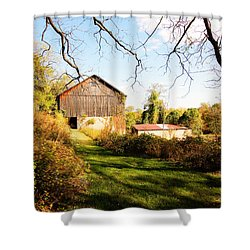 Shower Curtain featuring the photograph The Old Barn by Trina  Ansel
