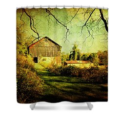 Shower Curtain featuring the photograph The Old Barn With Texture by Trina  Ansel