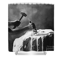 Shower Curtain featuring the photograph Chipping The Old Block by Mark Greenberg