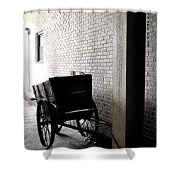 Shower Curtain featuring the photograph The Old Cart From The Series View Of An Old Railroad by Verana Stark