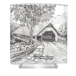Shower Curtain featuring the drawing The Old Creamery Bridge Brattleboro Vt Pen Ink by Carol Wisniewski