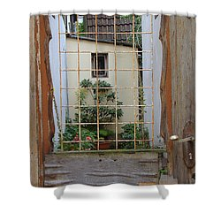 Memories Made Beyond This Old Door Shower Curtain