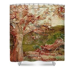 Shower Curtain featuring the painting The Old Fence Line by Mary Wolf