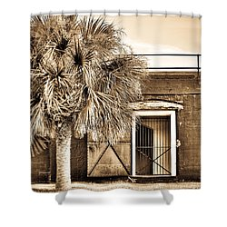 The Old Fort-sepia Shower Curtain