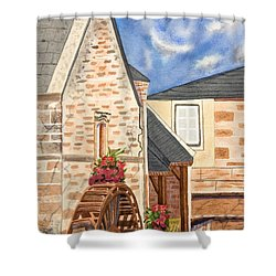 The Old French Mill Watercolor Art Prints Shower Curtain