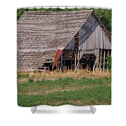 Shower Curtain featuring the photograph The Old Gray Barn by Nick Kirby