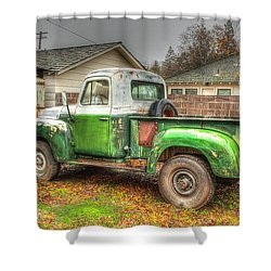 Shower Curtain featuring the photograph The Old Green Truck by Jim Thompson