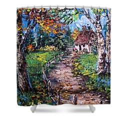 Shower Curtain featuring the painting The Old Homestead by Megan Walsh