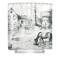 Shower Curtain featuring the painting The Old Horse Farm by Bernadette Krupa