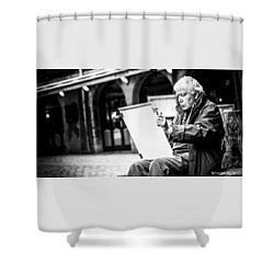 Shower Curtain featuring the photograph The Old Man Painter II by Stwayne Keubrick