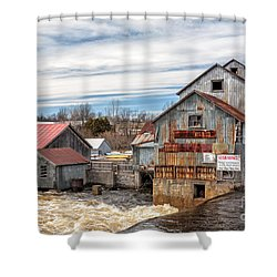 The Old Mill And The Raging River Shower Curtain