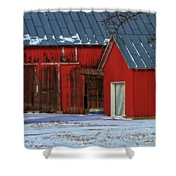 The Old Red Barn In Winter Shower Curtain by Dan Sproul