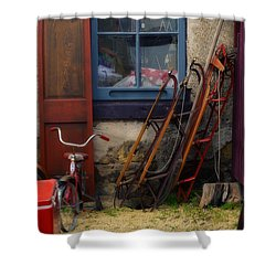 The Old Sleds Shower Curtain by Mary Machare