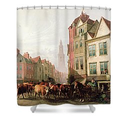 The Old Smithfield Market Shower Curtain by Thomas Sidney Cooper