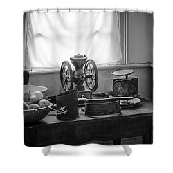 The Old Table By The Window - Wonderful Memories Of The Past - 19th Century Table And Window Shower Curtain by Gary Heller