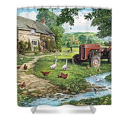The Old Tractor Shower Curtain by Steve Crisp
