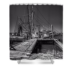 The Old Wharf In Brunswick Shower Curtain by Debra and Dave Vanderlaan