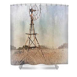 The Old Windmill Shower Curtain by Elaine Teague