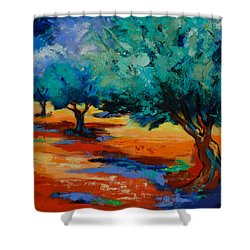 The Olive Trees Dance Shower Curtain