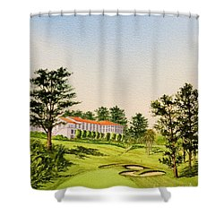 Shower Curtain featuring the painting The Olympic Golf Club - 18th Hole by Bill Holkham