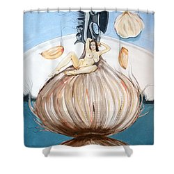 Shower Curtain featuring the painting The Onion Maiden And Her Hair La Doncella Cebolla Y Su Cabello by Lazaro Hurtado