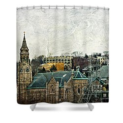 The Only Good Thing About The Highway Is The Scenery Shower Curtain by Trish Tritz