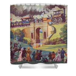 The Opening Of The Stockton And Darlington Railway Macmillan Poster Shower Curtain by Norman Howard