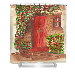 Shower Curtain featuring the painting The Orange Door by Tracey Williams