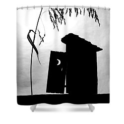 The Outhouse Shower Curtain by Mary Lee Dereske