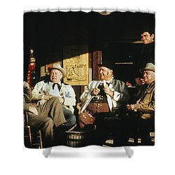 Shower Curtain featuring the photograph The Over The Hill Gang  Johnny Cash Porch Old Tucson Arizona 1971 by David Lee Guss