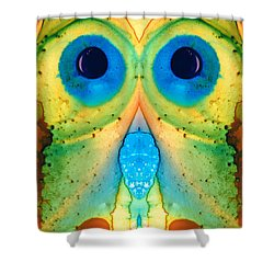 The Owl - Abstract Bird Art By Sharon Cummings Shower Curtain by Sharon Cummings