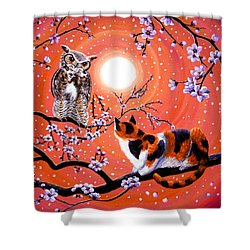 The Owl And The Pussycat In Peach Blossoms Shower Curtain