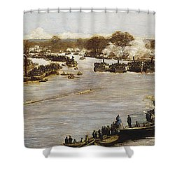 The Oxford And Cambridge Boat Race Shower Curtain by James Macbeth