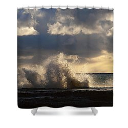 The Pacific Calms Down Shower Curtain by Joe Schofield
