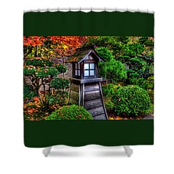 Shower Curtain featuring the photograph The Pagoda At The Japanese Gardens by Thom Zehrfeld