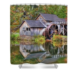 The Painted Mill Shower Curtain