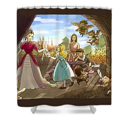 Shower Curtain featuring the painting The Palace Balcony by Reynold Jay