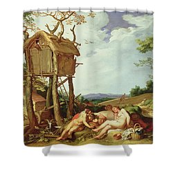 The Parable Of The Wheat And The Tares Shower Curtain by Abraham Bloemaert