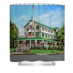 Shower Curtain featuring the painting The Parker House by Melinda Saminski