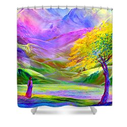 Shower Curtain featuring the painting Misty Mountains, Fall Color And Aspens by Jane Small